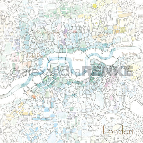 Designpapier 'London Aquarell'